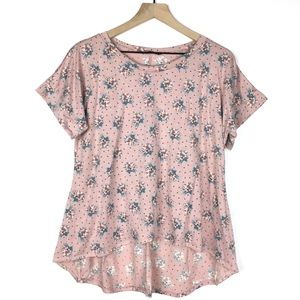 ANNABELLE Top Floral Hi Lo Short Sleeve Dot Medium